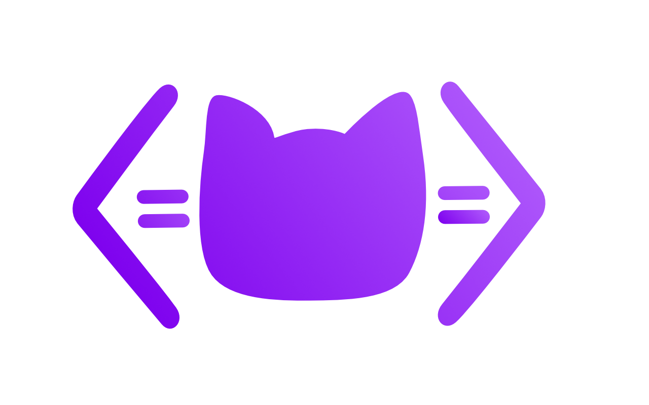 my logo: a vector shape of a cat's head surrounded by angle brackets